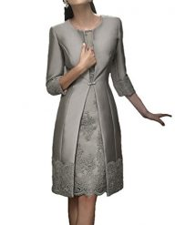 Blevla Satin Appliqued Mother of The Bride Dresses With Jackets