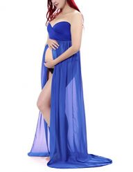 Saslax Maternity Split Front Sheer Chiffon Maternity Gown Maxi Bridesmaid Dress for Photos Shoot