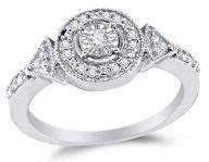 925 Sterling Silver Round Diamond Halo Circle Engagement Ring – Prong Set Solitaire Center Setting Shape (1/8 cttw.)