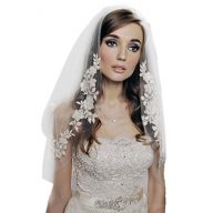 1T Women Wedding Bridal Appliques Beaded Veil with Comb-V50(White and Ivory)