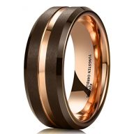 King Will 8mm Brown Brushed Tungsten Carbide Wedding Band Ring Thin Rose Gold Groove Comfort Fit