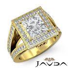 Princess Diamond GIA H VS2 18k Yellow Gold Halo Pave Set Engagement Ring 2.5ct