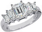 2.17 carat Emerald Cut DIAMOND Engagement RING, 5 Diamond BAND 1.01 carat center