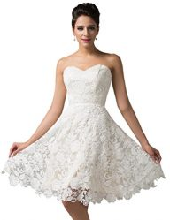 GRACE KARIN Women's Off White Lace Short Bridal Prom Gown Wedding Evening Dress