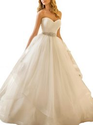 Ubridal Sweetheart Ball Gown Beading Sash Ruffles Tulle Wedding Dress Bridal Gown