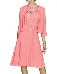 Fancygowns Women's Appliques Tea Length Mother of the Bride Dress With Jacket