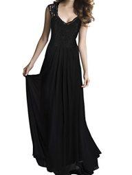 Women's Lace Chiffon Long Party Dresses GABREBI Sleeveless Bridesmaid V-Neck Casual Dress Vintage Maxi