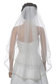 2T 2 Tier Dual Edge Embroided Pearl Crystal Beaded Veil Fingertip Length 36″