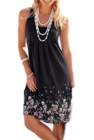 Amborido Womens Summer Casual Sleeveless Mini Printed Vest Dresses