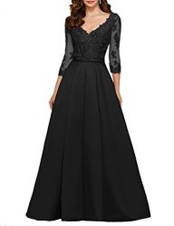 Pettus Women's V-neck 3/4 Sleeves Prom Dress Lace Long Mother of The Bride Dresses 2017