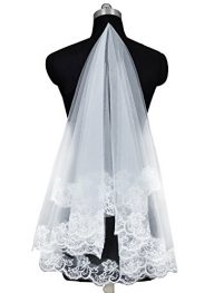 Loffy Women's Tulle 1 Tier Lace Appliques Wedding Bridal Veil