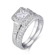 LAVUMO Exquisite Women Wedding Engagement Bridal Set Rings Princess Cut Cubic Zirconia Her Band