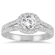 AGS Certified 1 1/4 Carat TW White Diamond Engagement Ring in 14K White Gold (J-K Color, I2-I3 Clarity)