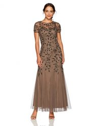 Adrianna Papell Women's Petite Floral Beaded Godet Gown