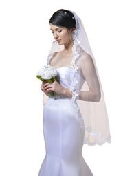 SWEETV Romantic Lace Edge Bridal Veil Fingertip Length Wedding Veil Accessories with Comb
