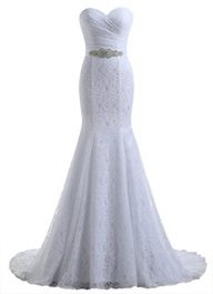 Beautyprom Women's Lace Mermaid Bridal Wedding Dresses White US6