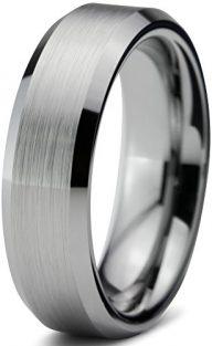 Tungsten Wedding Band Ring 4mm for Men Women Comfort Fit Beveled Edge Brushed