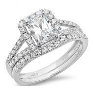 Clara Pucci 1.5 CT Emerald Cut Pave Halo Bridal Engagement Wedding Ring band set 14k White Gold