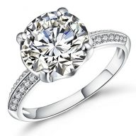 Vibrille White Gold Plated Sterling Silver Round Solitaire Cubic Zirconia Engagement Ring for Women