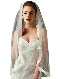 LynnBridal Wedding Veil with Lace Edge 1 Tier Fingertip Length with Comb Ivory