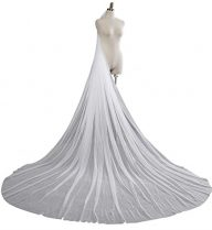 White Ivory Sheer Tulle Bridal Veils With Comb Cathedral Length for Wedding