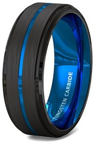 Mens Wedding Band 8mm Black Brushed Tungsten Ring Thin Blue Groove Step Edge Comfort Fit