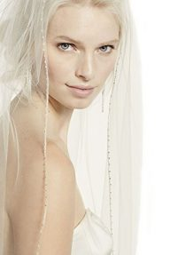 Top-Sexy Cathedral Length Bridal Veil with Beaded Metallic Edge 22