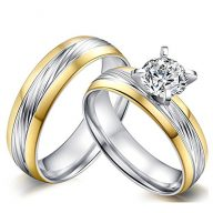 18K Gold Filled A+ CZ Set Cubic Zirconia Stainless Steel Wave Love Promise Couples Wedding Ring Gift