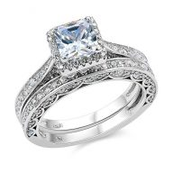 Newshe Princess White Cubic Zirconia Wedding Ring Set For Women 925 Sterling Silver Engagement Size
