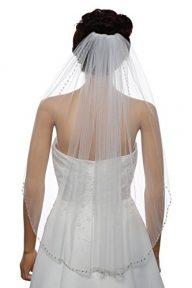 1T Rhinestone Pearl Sequin Beaded Wedding Veil Elbow Length 30″