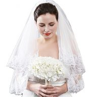 White Ivory 2 Tiers Fingertip Wedding veil Lace Silver Lined Beaded Edge