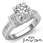 2.5ct Round Channel Set Diamond Classic Engagement Ring GIA F VS1 14k White Gold