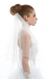Passat Two Tier NEW! Rhinestone Scrolled Scallop-Edge Fingertip Wedding Veil 257