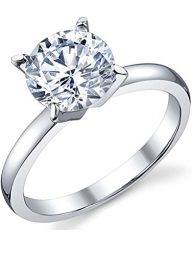 JoGray Women's 18K Platinum Plated Prong Setting Cubic Zirconia Inlaid Wedding Engagement Band Ring For Her Size 6-9