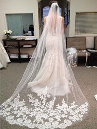 LittleB One tier Long wedding Veil tulle bridal veil with lace appliques embroidery.