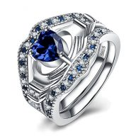 925 Sterling Silver Heart Rings – Sapphire Princess Crown Ring sets For Women Wedding Stacking Style