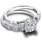 Round 1.30 Ct Diamond Wedding Band Sets Real 14K White Gold Engagement Ring Set