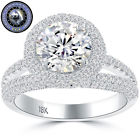 3.61 Carat G-VS2 EGL Certified Round Diamond Engagement Ring 18k White Gold