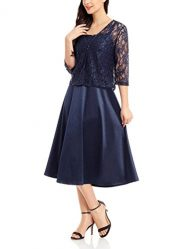 Luvamia Women's Two Piece Lace Sequin Mother of The Bride Midi Dress with Jacket
