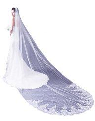 Leekida Women's Short 2 Tier Lace Wedding Bridal Veil With Comb White Ivory