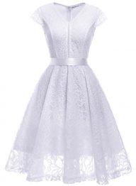 MUADRESS Women V-Neck Bridesmaid Dress Cap-Sleeve Floral Lace Slim Dress