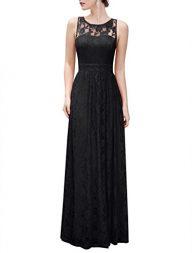 Wedtrend Women's Long Floral Lace Dress Sleeveless Semi-Formal Dress