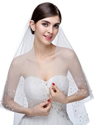 Edith qi 2 Tier Floral Vine Pearl Beaded Wedding Veil Fingertip Length with Comb