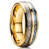 King Will METEOR 7mm Mens Gold Plated Tungsten Carbide Wedding Ring Imitated Meteorite blue Carbon Fiber Inlay Comfort Fit
