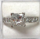 2.00 ctw 9-DIAMOND princess cut ENGAGEMENT ring 14k white GOLD (1.35 ct center)