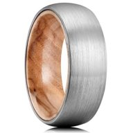 King Will NATURE 8mm Men's Tungsten Carbide Ring Brushed Dome Wedding Band with Wood Inlay Comfort Fit