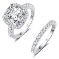 925 Sterling Silver CZ Bling Diamond Fairy Noble Engagement Wedding Rings for Women and Girls 2PC/Sets