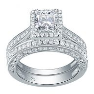 Newshe Woman 1.5ct Princess White AAA Cz 925 Sterling Silver Wedding Engagement Ring Set Size 5-10