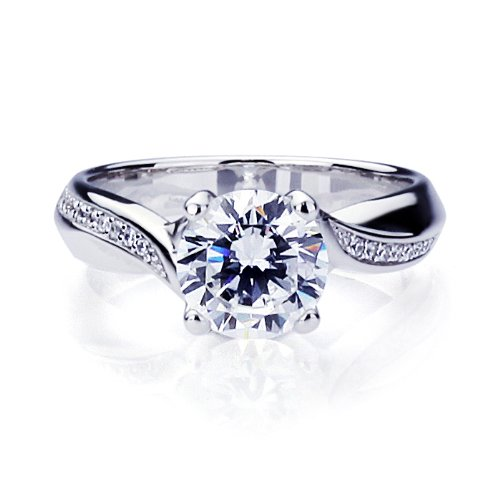 Sterling Silver Round Brilliant Cut 2 Carat Simulated Diamond Engagement Ring ( Size 5 to 9) on sale