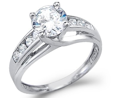 14K White Gold Round Solitaire Cubic Zirconia Engagement Ring, 1.5ct on sale